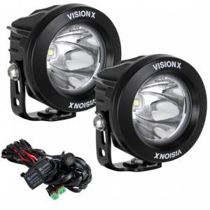 "Lighting - Vision X - Vision-X XIL-OPR110KIT 4"" Optimus Round LED Spot Lights 10W 10 Degree Driving Beam - Pair"