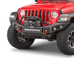 Shop Bumpers By Vehicle - Jeep Gladiator JT - Go Rhino - Go Rhino 331201T Rockline Full Width Front Bumper Jeep Wrangler JK/JL/JT 2007-2020