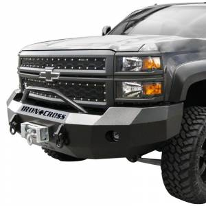 Iron Cross - Iron Cross 22-515-16-MB Winch Front Bumper with Push Bar for Chevy Silverado 1500 2016-2018 - Matte Black - Image 2