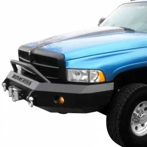 Iron Cross - Iron Cross 22-615-97-MB Winch Front Bumper with Push Bar for Dodge Ram 1500 1997-2001 - Matte Black - Image 2