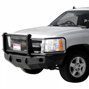 Iron Cross - Iron Cross 24-515-07 Winch Front Bumper with Grille Guard for Chevy Silverado 1500 2007-2013 - Gloss Black - Image 2
