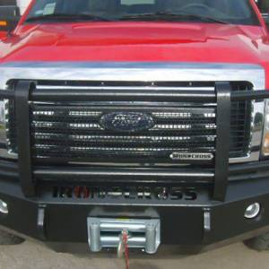 Iron Cross - Iron Cross 24-415-92-MB Winch Front Bumper with Grille Guard for Ford F150/F250/F350 1992-1996 - Matte Black - Image 3