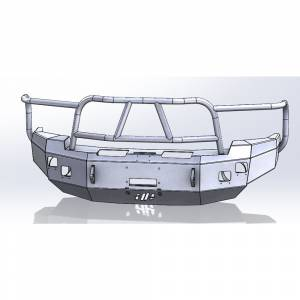 Hammerhead Bumpers - Hammerhead 600-56-0083 X-Series Winch Front Bumper with Full Brush Guard and Square Light Holes for Dodge Ram 2500/3500/4500/5500 2003-2005
