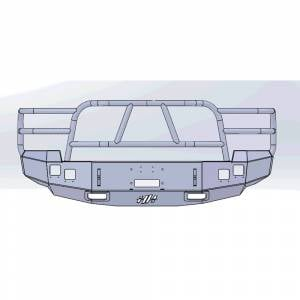 Hammerhead Bumpers - Hammerhead 600-56-0057 X-Series Winch Front Bumper with Full Brush Guard and Square Light Holes for Chevy Silverado 2500/3500 2007-2010