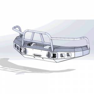Hammerhead Bumpers - Hammerhead 600-56-0070 X-Series Winch Front Bumper with Full Brush Guard and Square Light Holes for Dodge Ram 1500 1994-2001