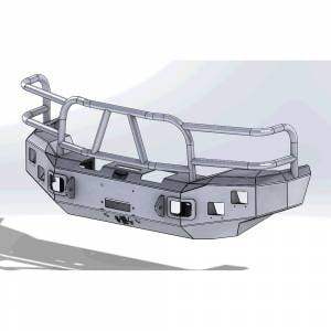 Hammerhead Bumpers - Hammerhead 600-56-0097 X-Series Winch Front Bumper with Full Brush Guard and Square Light Holes for Ford F250/F350/F450/F550/Excursion 1999-2004