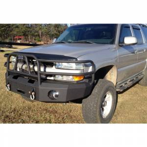 Shop Bumpers By Vehicle - Chevy Tahoe and Suburban - Hammerhead Bumpers - Hammerhead 600-56-0110T X-Series Winch Front Bumper with Full Brush Guard and Square Light Holes for Chevy Tahoe/Suburban 2001-2006