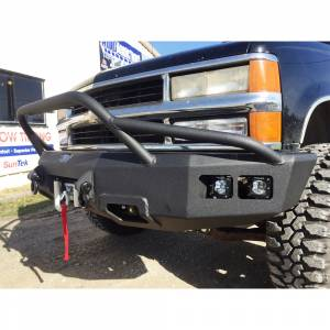 Truck Bumpers - Hammerhead - Hammerhead Bumpers - Hammerhead 600-56-0127_2 Winch Front Bumper with Pre-Runner Guard and Square Light Holes for Chevy Silverado/GMC Sierra 2500/3500 1988-1998