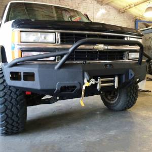Shop Bumpers By Vehicle - Chevy Tahoe and Suburban - Hammerhead Bumpers - Hammerhead 600-56-0127T Winch Front Bumper with Pre-Runner Guard and Square Light Holes for Chevy Tahoe/Suburban 1992-2000