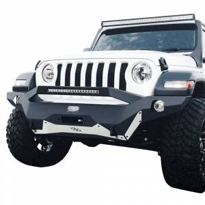 Shop Bumpers By Vehicle - Jeep Wrangler JL - Hammerhead Bumpers - Hammerhead 600-56-0775 Ravager Full Width Winch Front Bumper with Pre-Runner Guard and Square Light Holes for Jeep Wrangler JL/Gladiator 2018-2020