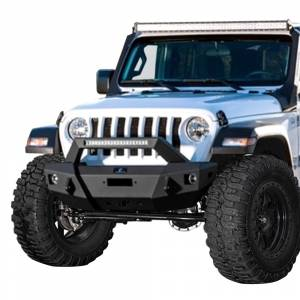 Shop Bumpers By Vehicle - Jeep Wrangler JL - Hammerhead Bumpers - Hammerhead 600-56-0757 X-Series Stubby Winch Front Bumper with Pre-Runner Guard and Square Light Holes for Jeep Wrangler JL/Gladiator 2018-2020