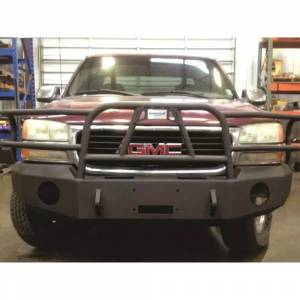 Hammerhead Bumpers - Hammerhead 600-56-0085 X-Series Winch Front Bumper with Full Brush Guard and Round Light Holes for GMC Sierra 1500 1999-2002