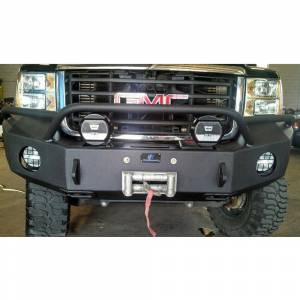 Hammerhead Bumpers - Hammerhead 600-56-0163 Winch Front Bumper with Pre-Runner Guard and Square Light Holes for GMC Sierra 2500/3500 2007-2010