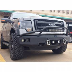 Shop Bumpers By Vehicle - Ford F150 Eco-Boost - Hammerhead Bumpers - Hammerhead 600-56-0204 Non-Winch Front Bumper with Pre-Runner Guard and Square Light Holes for Ford F150 EcoBoost 2011-2014