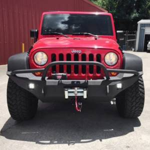 Jeep Bumpers - Hammerhead - Hammerhead Bumpers - Hammerhead 600-56-0396 Full Width Winch Front Bumper with Pre -Runner Guard and Square Light Holes for Jeep Wrangler JK 2007-2017