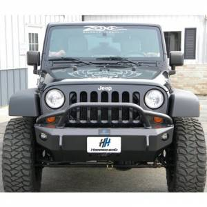 Jeep Bumpers - Hammerhead - Hammerhead Bumpers - Hammerhead 600-56-0206 Stubby Winch Front Bumper with Pre-Runner Guard and Round Light Holes for Jeep Wrangler JK 2007-2017