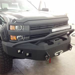 Truck Bumpers - Hammerhead - Hammerhead Bumpers - Hammerhead 600-56-0278 Winch Front Bumper with Pre-Runner Guard and Sensor Holes for Chevy Silverado 2500/3500 2015-2019