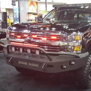 Truck Bumpers - Hammerhead - Hammerhead Bumpers - Hammerhead 600-56-0411 Low Profile Non-Winch Front Bumper with Pre-Runner Guard and Square Light Holes for Chevy Silverado 2500/3500 2015-2019