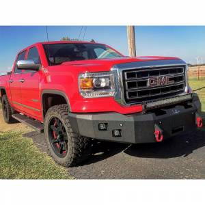 Hammerhead Bumpers - Hammerhead 600-56-0489 X-Series Winch Front Bumper with Sensor Holes and Square Light Holes for GMC Sierra 1500 2016-2018