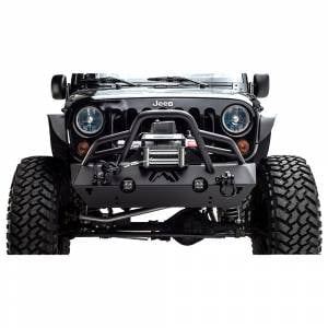 Jeep Wrangler JK - Fab Fours - Fab Fours JK07-B1854-1 Stubby Winch Front Bumper with Pre-Runner Guard for Jeep Wrangler JK 2007-2018