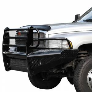 Fab Fours - Fab Fours DR94-S1560-1 Black Steel Front Bumper with Full Grille Guard for Dodge Ram 2500 HD/3500 HD/4500 HD/5500 HD 1994-2002