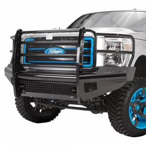 Fab Fours - Fab Fours FS05-S1260-1 Black Steel Front Bumper with Full Grille Guard for Ford F250/F350 2005-2007