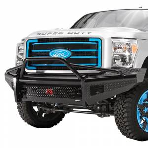 Fab Fours - Fab Fours FS05-S1262-1 Black Steel Front Bumper with Pre-Runner Guard for Ford F250/F350 2005-2007