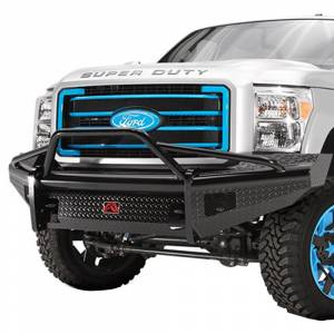 Fab Fours - Fab Fours FS08-S1962-1 Black Steel Front Bumper with Pre-Runner Guard for Ford F250/F350 2008-2010