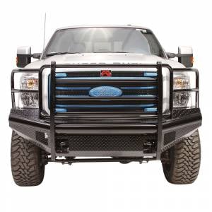 Fab Fours FS11-S2560-1 Black Steel Front Bumper with Full Grille Guard for Ford F250/F350/F450/F550 2011-2016