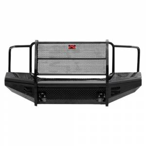 Fab Fours - Fab Fours GM08-S2160-1 Black Steel Front Bumper with Full Grille Guard for GMC Sierra 2500/3500 2007-2010
