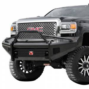 Fab Fours - Fab Fours GM08-S2162-1 Black Steel Front Bumper with Pre-Runner Guard for GMC Sierra 2500/3500 2007-2010