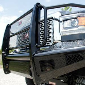 Fab Fours - Fab Fours GM11-S2860-1 Black Steel Front Bumper with Full Grille Guard for GMC Sierra 2500/3500 2011-2014 - Image 4