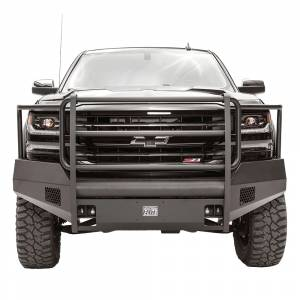 Fab Fours - Fab Fours CS16-R3860-1 Black Steel Elite Smooth Front Bumper with Full Guard for Chevy Silverado 1500 2016-2018