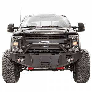 Fab Fours - Fab Fours FS17-A4152-1 Winch Front Bumper with Pre-Runner Guard and Sensor Holes for Ford F250/F350 2017-2021
