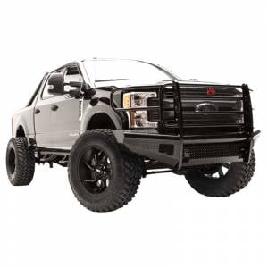 Fab Fours - Fab Fours FS17-S4160-1 Black Steel Front Bumper with Full Grille Guard for Ford F250/F350/F450/F550 2017-2021