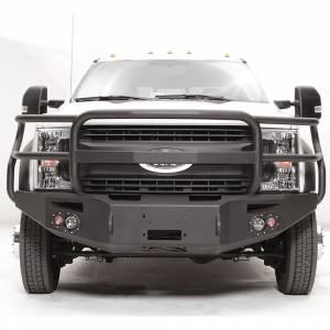 Shop Bumpers By Vehicle - Ford F450/F550 Super Duty - Fab Fours - Fab Fours FS17-A4250-1 Winch Front Bumper with Full Guard and Sensor Holes for Ford F450/F550 2017-2019