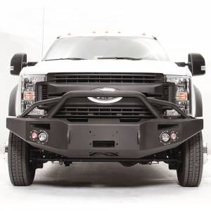 Fab Fours - Fab Fours FS17-A4252-1 Winch Front Bumper with Pre-Runner Guard and Sensor Holes for Ford F450/F550 2017-2021