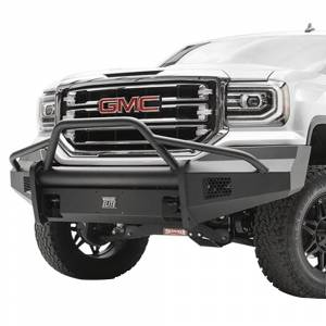Fab Fours - Fab Fours GS16-R3962-1 Black Steel Elite Smooth Front Bumper with Pre-Runner Guard for GMC Sierra 1500 2016-2018