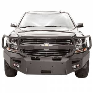 Fab Fours Front Bumper with Full Grille Guard - Chevy - Fab Fours - Fab Fours CS15-F3550-1 Winch Front Bumper with Full Guard and Sensor Holes for Chevy Suburban 2015-2019