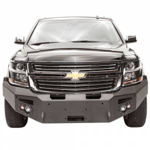 Fab Fours Front Bumper with Full Grille Guard - Chevy - Fab Fours - Fab Fours CS15-F3551-1 Winch Front Bumper with Sensor Holes for Chevy Suburban 2015-2019