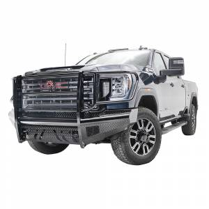 Fab Fours - Fab Fours GM20-S5060-1 Black Steel Front Bumper with Full Grille Guard for GMC Sierra 2500/3500 2020