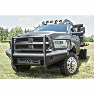 Fab Fours - Fab Fours DR10-Q2960-1 Black Steel Elite Smooth Front Bumper with Full Guard for Dodge Ram 2500/3500/4500/5500 2010-2018 - Image 2