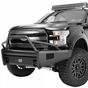 Fab Fours - Fab Fours FF09-R1962-1 Black Steel Elite Smooth Front Bumper with Pre-Runner Guard for Ford F150 2009-2014