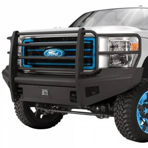 Fab Fours - Fab Fours FS08-Q1960-1 Black Steel Elite Smooth Front Bumper with Full Guard for Ford F250/F350 2008-2010