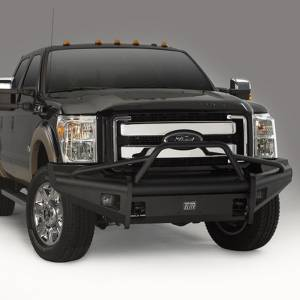Fab Fours - Fab Fours FS08-Q1962-1 Black Steel Elite Smooth Front Bumper with Pre-Runner Guard for Ford F250/F350 2008-2010 - Image 2