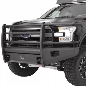 Fab Fours - Fab Fours TT07-R1862-1 Black Steel Elite Smooth Front Bumper with Pre-Runner Guard for Toyota Tundra 2007-2013