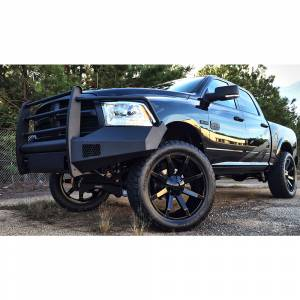 Fab Fours - Fab Fours DR13-R2960-1 Black Steel Elite Smooth Front Bumper with Full Guard for Dodge Ram 1500 2013-2018