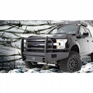 Fab Fours - Fab Fours FF15-R3250-1 Black Steel Elite Smooth Front Bumper with Full Guard for Ford F150 2015-2017 - Image 3