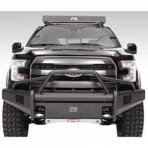 Fab Fours - Fab Fours FF15-R3252-1 Black Steel Elite Smooth Front Bumper with Pre-Runner Guard for Ford F150 2015-2017 - Image 1