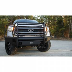 Toyota Tundra - Toyota Tundra 2014-2020 - Fab Fours - Fab Fours TT14-R2860-1 Black Steel Elite Smooth Front Bumper with Full Guard for Toyota Tundra 2014-2019